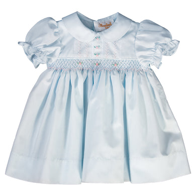 Lillian Light Blue English Smocked and Feather Stitched Baby Dress 19SP 6479 D