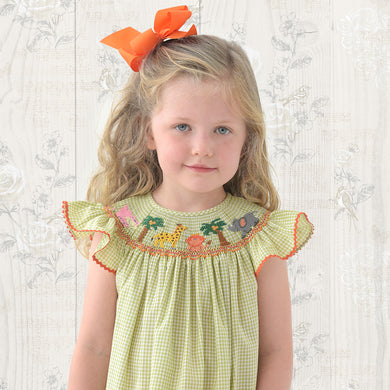 Safari Animals & Coconut Trees Moss Green Gingham Smocked Bishop with Angel Sleeves and RicRac 19SU 6483 A