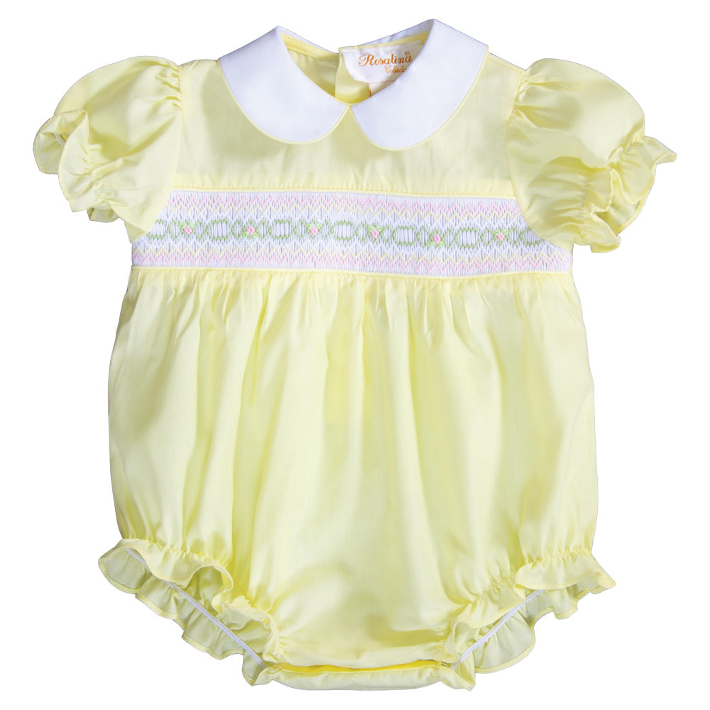 Bright Yellow English Smocked Girl Bubble 19SP 6487 BUG