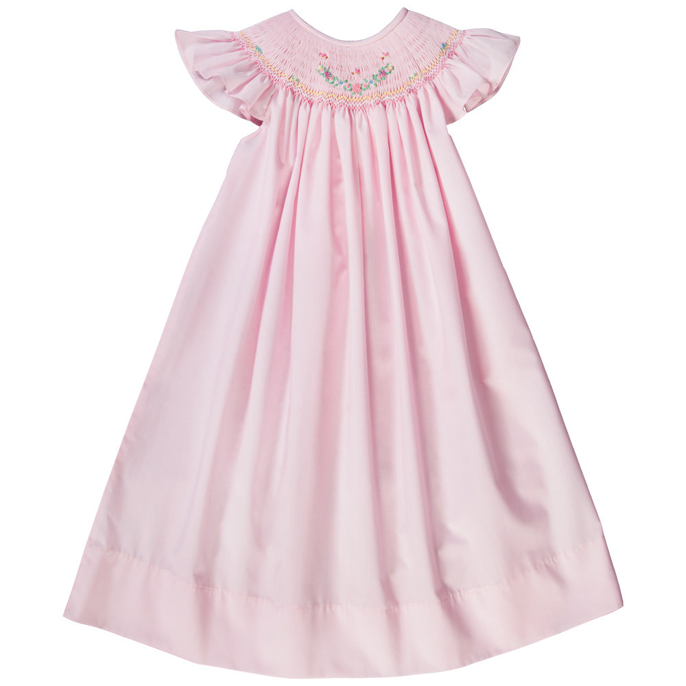 Butterfly & Bullion Flowers Pink Angel Sleeve Smocked Bishop 19SP 6490 A