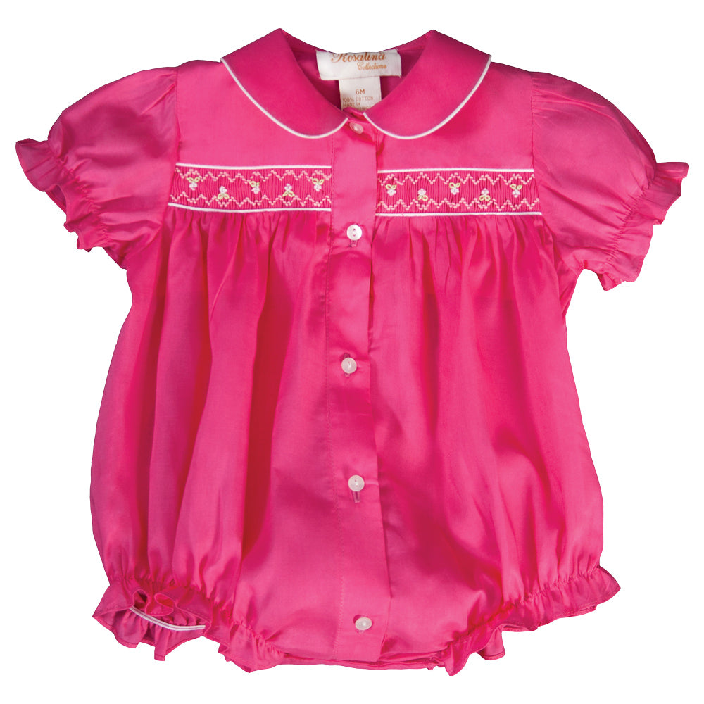 Rose Pink English Smocked Girl Bubble with Collar 19SP 6497 BUG