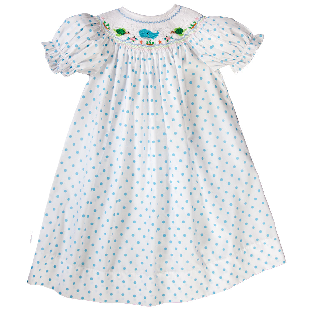 Whale Aqua Blue Dotted Smocked Bishop 19SU 6508 A