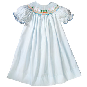 Bunnies & Carrot Garden Light Blue Smocked Bishop w/RicRac 19SP 6521 A