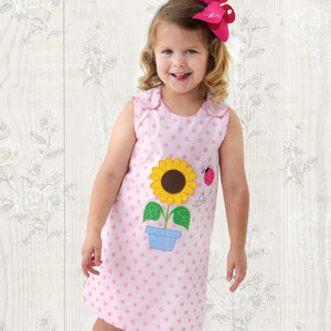 Sunflower & Ladybug Applique Pink Dotted Aline with RicRac 19SU 6529 C