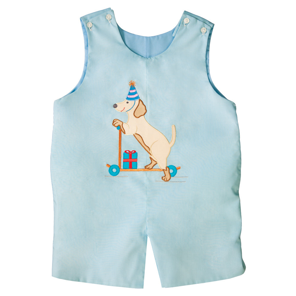 Puppy Party Scooter Applique Blue Reversible Romper 19SU 6530 R