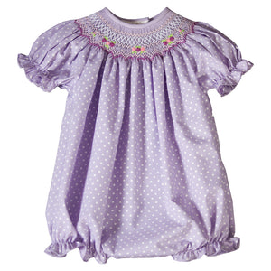 Lavender White Dotted English Smocked Girl Bubble 19SP 6542 BUG