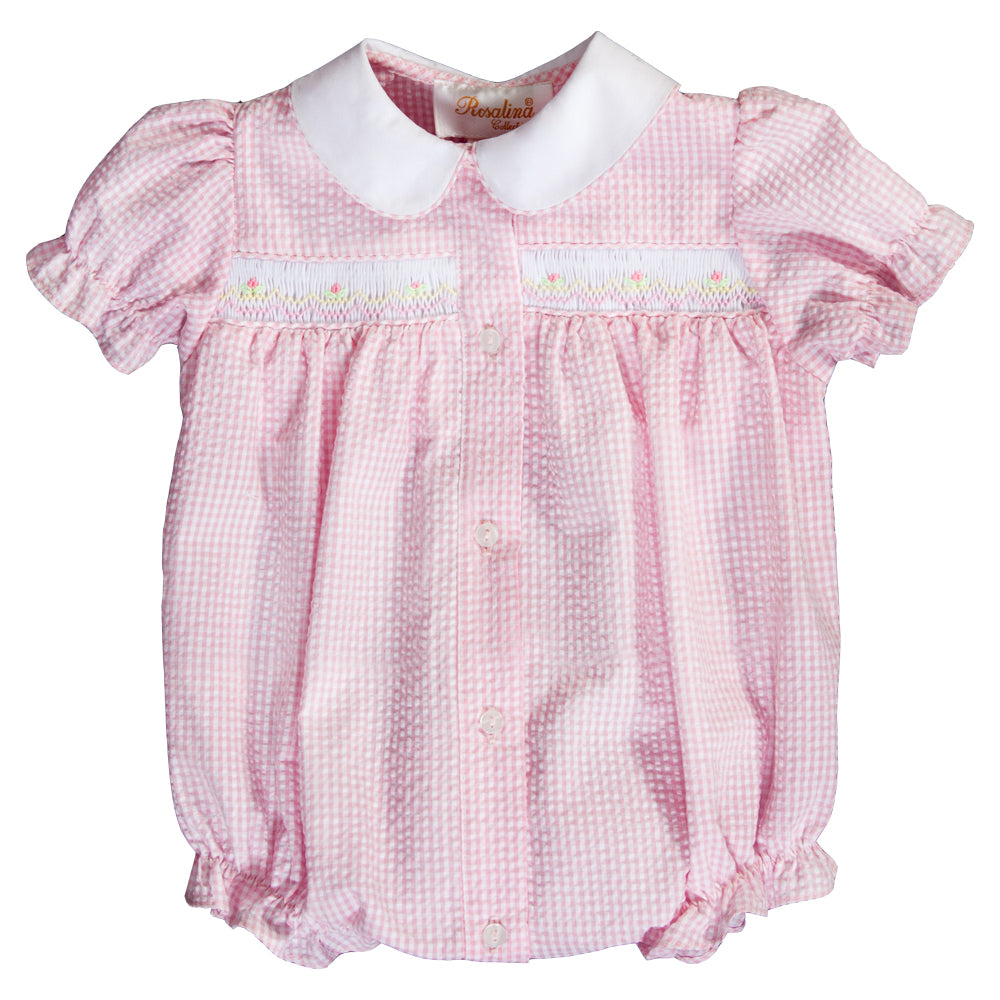 Pink Gingham Seersucker English Smocked Girl Bubble 20SP 6551 BUG