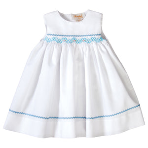 Amelia White Sundress with Blue English Smocking and RicRac 19SU 6554 SD BL