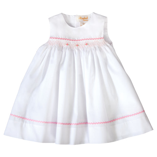 Amelia White Sundress with Pink English Smocking and RicRac 19SU 6554 SDPK
