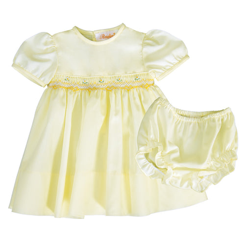 Leah Light Yellow English Smocked Baby Dress with Matching Panties 19SP 6558 D
