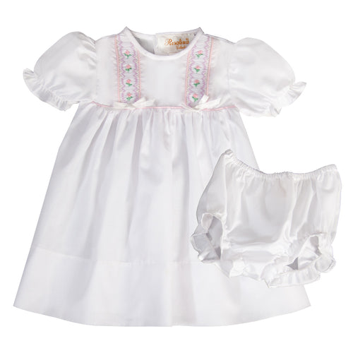 Savannah White English Smocked Baby Dress with Ribbons and Matching Panties 19SP 6559 D