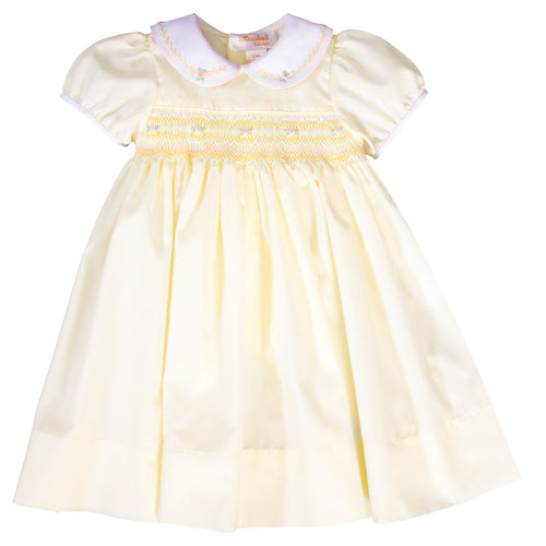 Julia Light Yellow English Smocked and Feather Stitched Baby Dress with White Collar 19SP 6567 D
