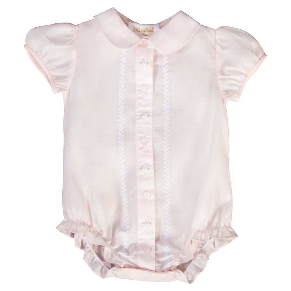 Light Pink Feather Stitched Girl Bubble with Collar 19SP 6570 BUG