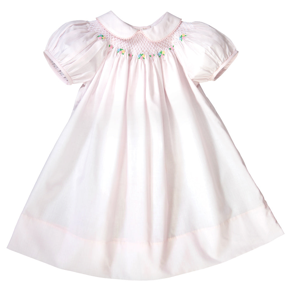 Light Pink English Smocked Bishop with Gingham Trimmed Collar 19SP 6571 A