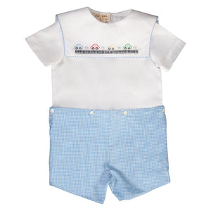 Cars Blue Gingham Shadow Embroidered Button-On Short Set 19SU 6577 SS1