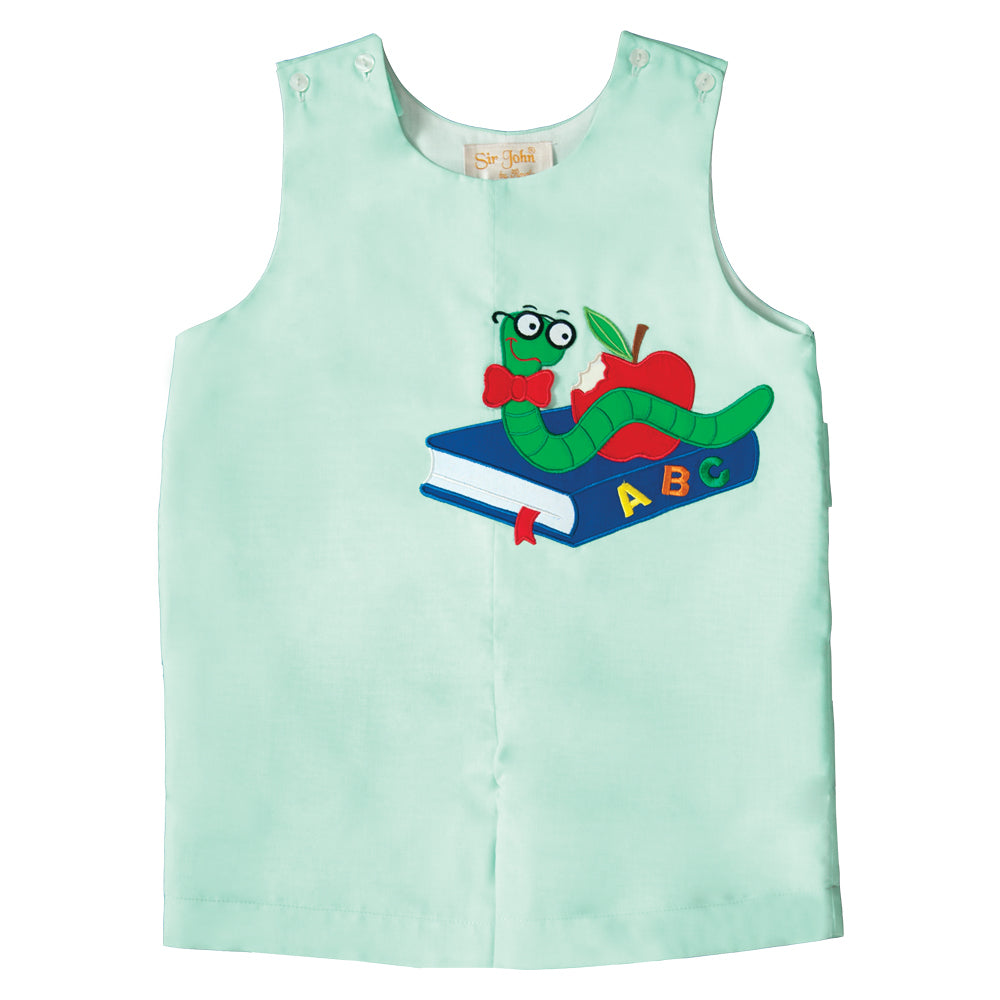 Bookworm Applique Mint Green Romper 19SU 6581 R