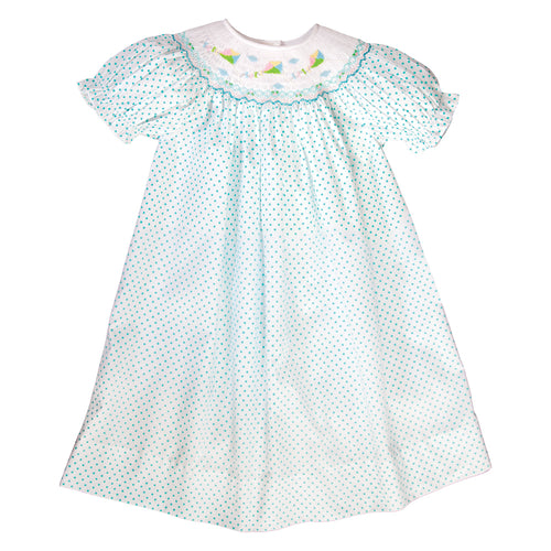 Kites Jade Dotted Smocked Bishop 19SU 6583 A