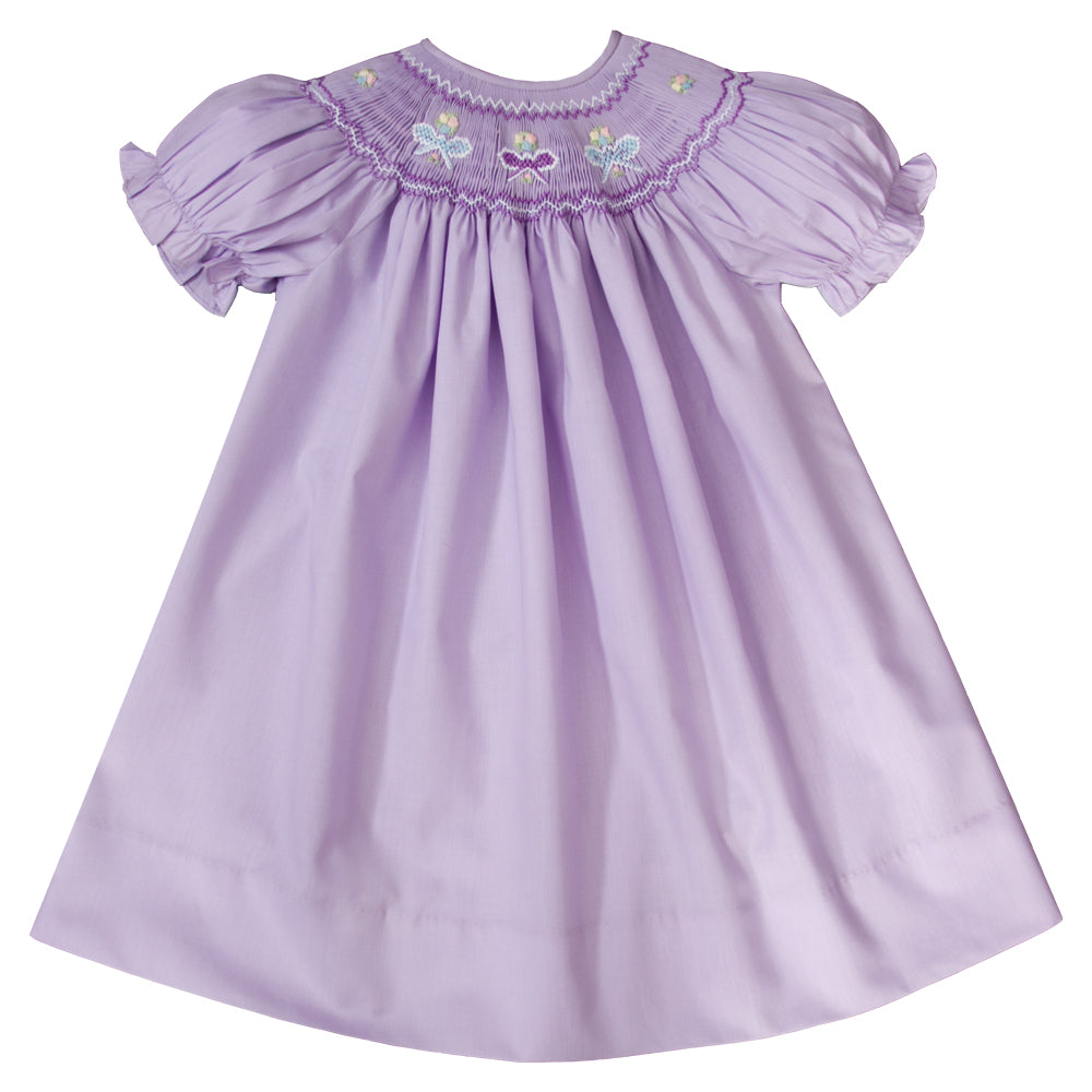 Lavender Ribbon & Flowers Smocked Bishop 19SP 6584 A