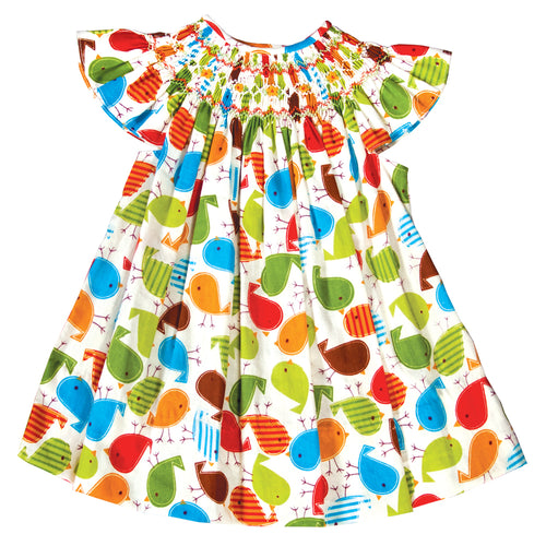 Multi Colored Songbird Print English Smocked Bishop 19F 20SU 6585 A