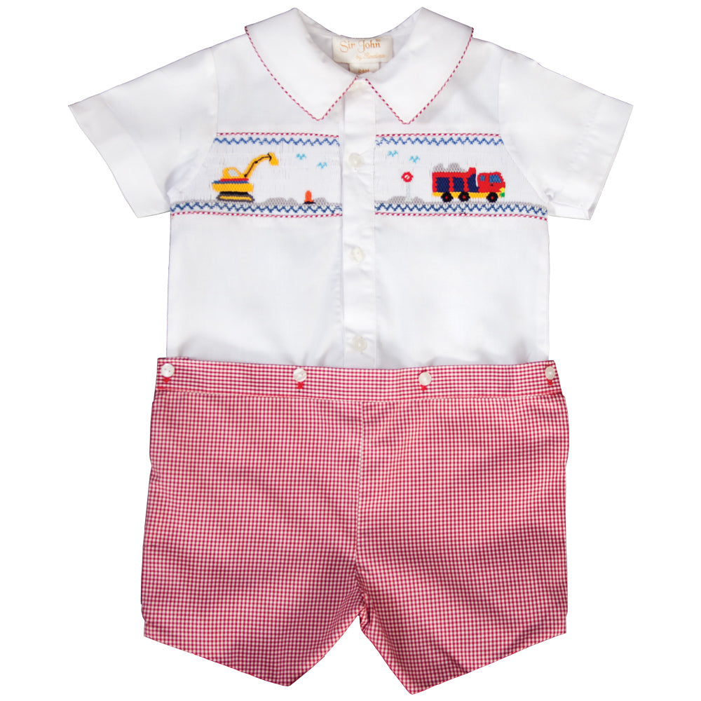 Trucks Smocked Red Gingham Button-On Short Set 19SU 6586 SS1