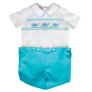 Elephant Smocked Turquoise Button-on Short Set 19SU 6594 SS2