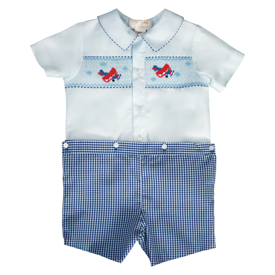 Airplanes Light Blue & Navy Gingham Smocked Button-On Short Set 19SU 6595 SS2