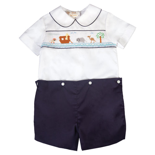 Noah's Ark White/N.Blue Smocked Button-On Short Set 19F 6596 SS1