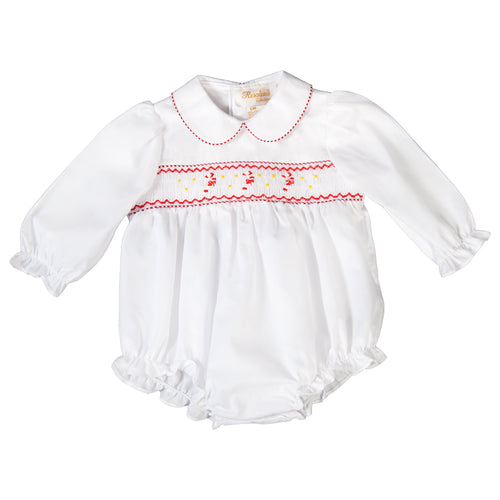 Red Striped Candy Cane Smocked White L.Sleeve Girl Bubble 19H 6599 BUG