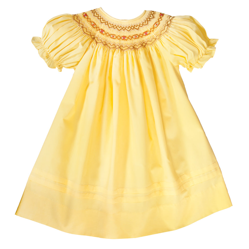 Autumn Sunshine Yellow English Smocked Bishop w/Pleated Hem 19F 6608 A