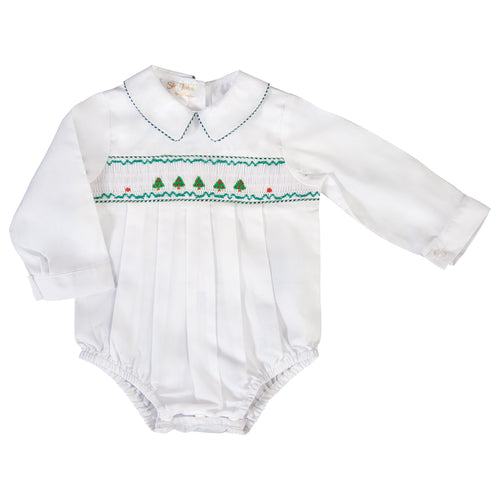 Christmas Trees Smocked L.Sleeve Boy White Bubble 19H 6611 BUB