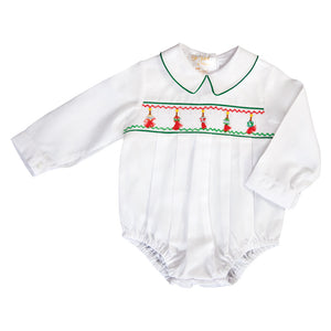 Tasseled Christmas Ornament Smocked L.Sleeve Boy Bubble with Green Trim 19H 6612 BUB