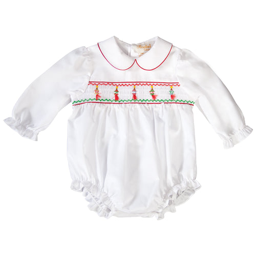 Tasseled Christmas Ornament Smocked L.Sleeve Girl Bubble with Red Trim 19H 6612 BUG
