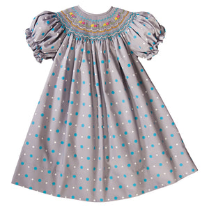 Grey Multi Dot English Smocked Bishop 19F 6614 A