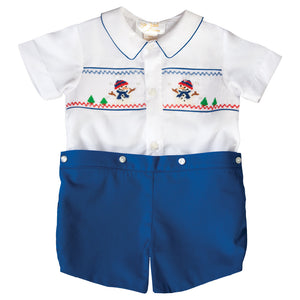 Snowman White / Royal Blue Smocked Button-On Short Set 19H 6616 SS1