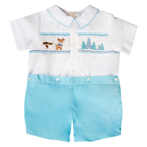 North Pole Rudolph White / Turquoise Smocked Button-On Short Set 19H 6617 SS1