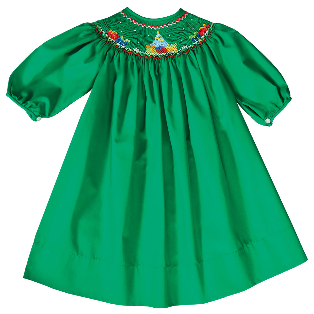 Christmas Tree w/Presents Smocked Green Bishop 3/4 Cap Sleeves 19H 6618 A