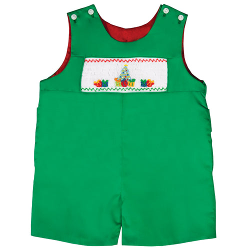 Christmas Tree w/Presents Smocked Green Reversible Romper 19H 6618 R