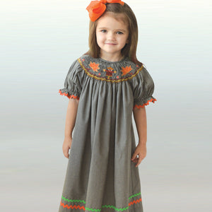 Scarecrow & Leaves Black Tiny Gingham Smocked Bishop w/RicRac 19F 6621 A