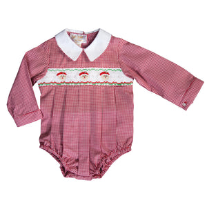 Santa Trio Red Gingham Smocked L.Sleeve Boy Bubble 19H 6626 BUB