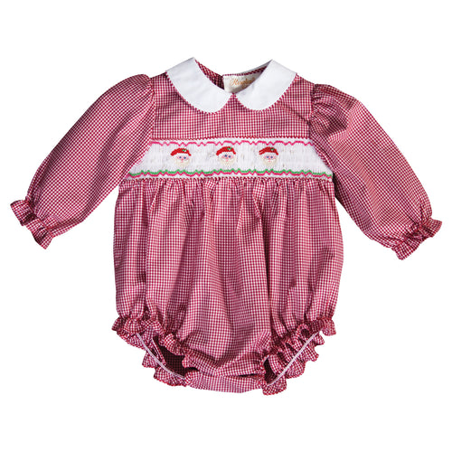 Santa Trio Red Gingham Smocked L.Sleeve Girl Bubble 19H 6626 BUG