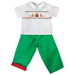 Reindeer Chimney White / Green Smocked Pant Set