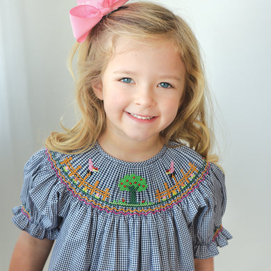 Apple Tree Navy Blue Gingham Smocked Bishop 19F 6634 A