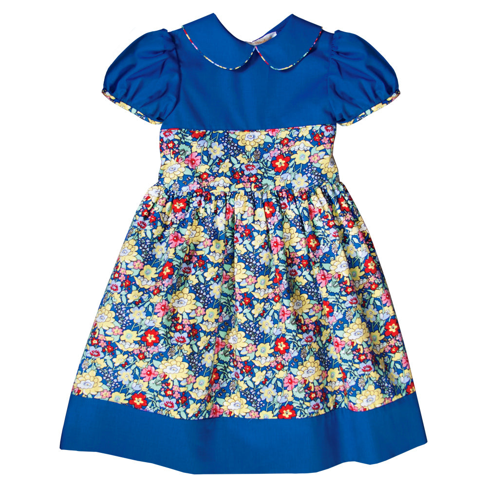 Wild Flower Royal Blue Baby Dress w/Cap Sleeves 19F 6635 D