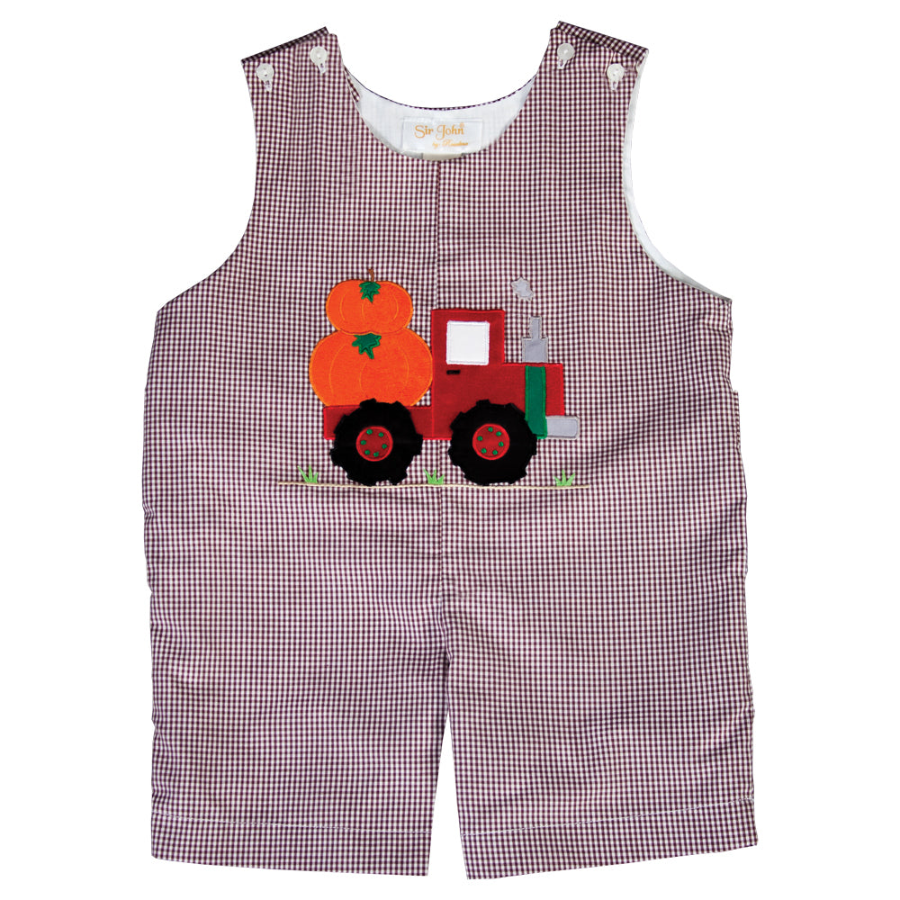 Pumpkin Truck Applique Brown Gingham Romper 19F 6636 R