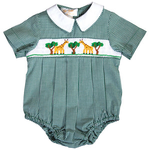 Nibbling Giraffes Green Gingham Smocked Boy Bubble 19F 6639 BUB