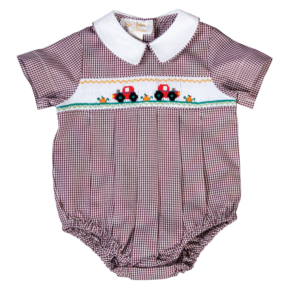 Autumn Tractor Brown Gingham Smocked Boy Bubble 19F 6640 BUB