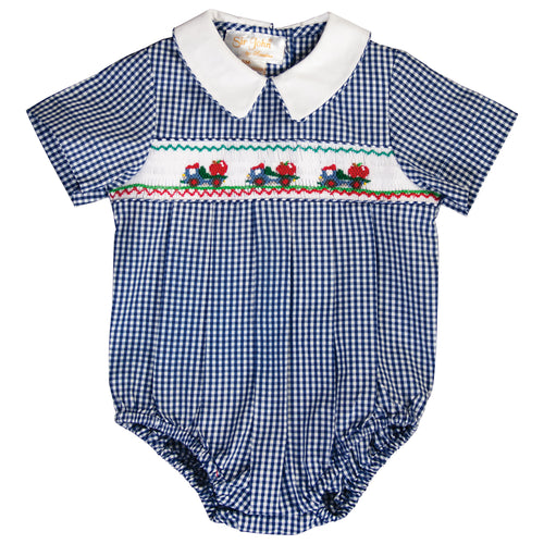 Apple Dump Trucks Royal Blue Gingham Smocked Boy Bubble 19F 6641BUB