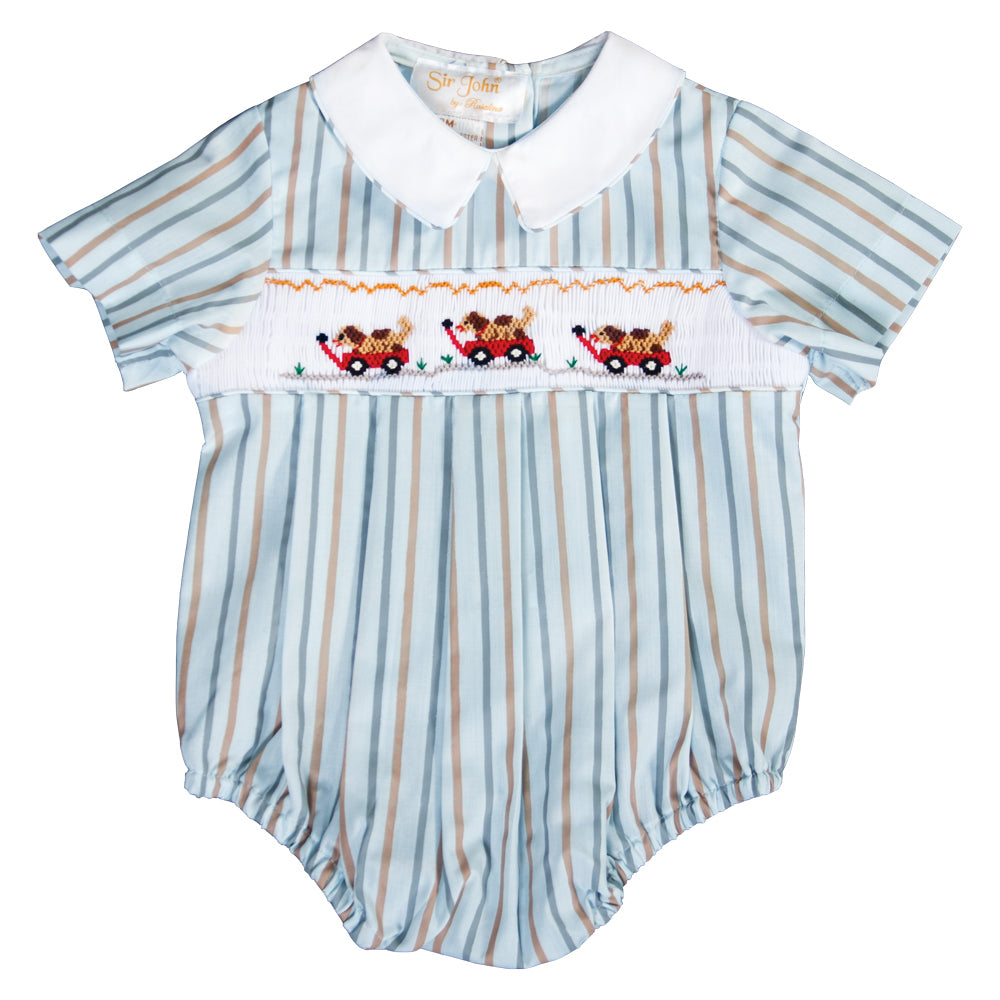 Rover Red Wagon Blue Striped Smocked Boy Bubble 19F 6642 BUB