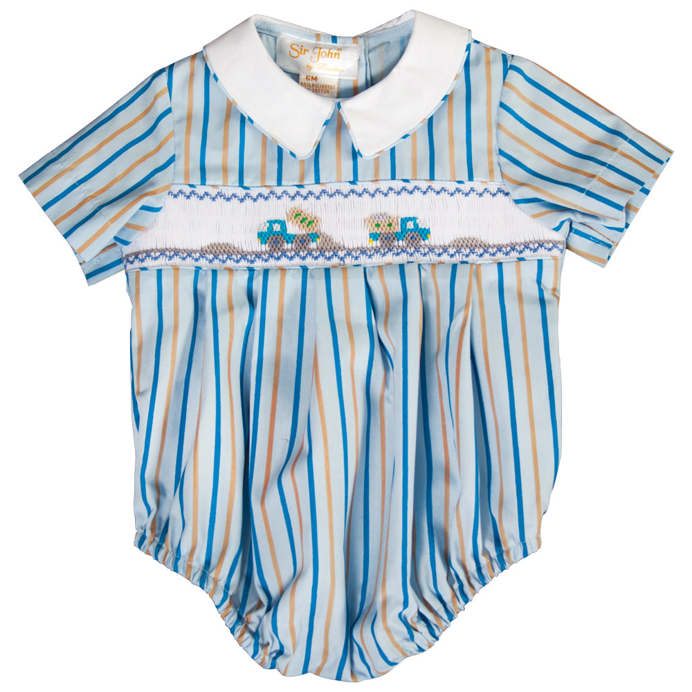Dump Trucks Blue Striped Smocked Boy Bubble 19F 6643 BUB