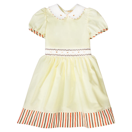 Sarah Lt. Yellow English Smocked Baby Dress with Striped Hem and Cap Sleeves 19F 6645 D